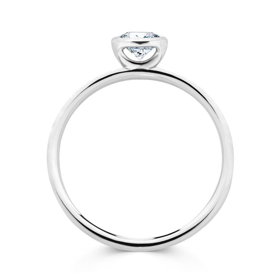 Platinum Rubover Detail Solitaire Diamond Engagement Ring 0.40ct Thumbnail Image 2