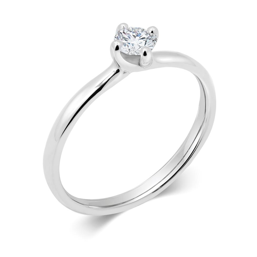 Platinum Twisted Claw Design Solitaire Engagement Ring 0.25ct Thumbnail Image 0