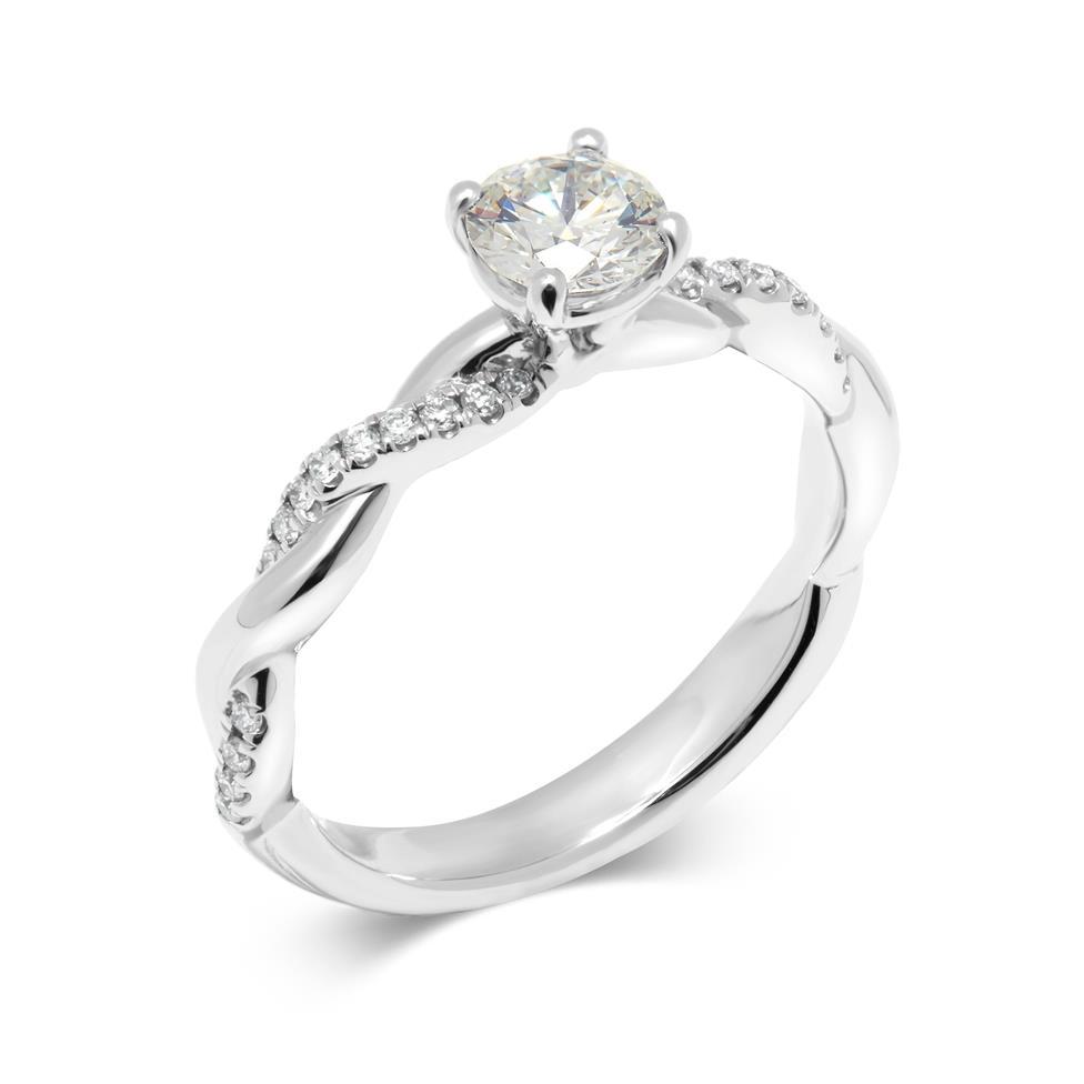 Platinum Plait Design Diamond Solitaire Engagement Ring 0.64ct Thumbnail Image 0
