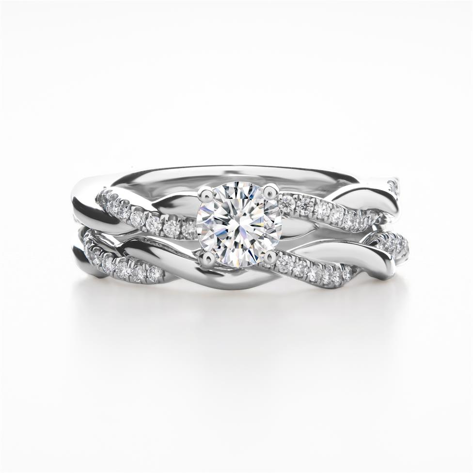 Platinum Plait Design Diamond Solitaire Engagement Ring 0.64ct Thumbnail Image 3