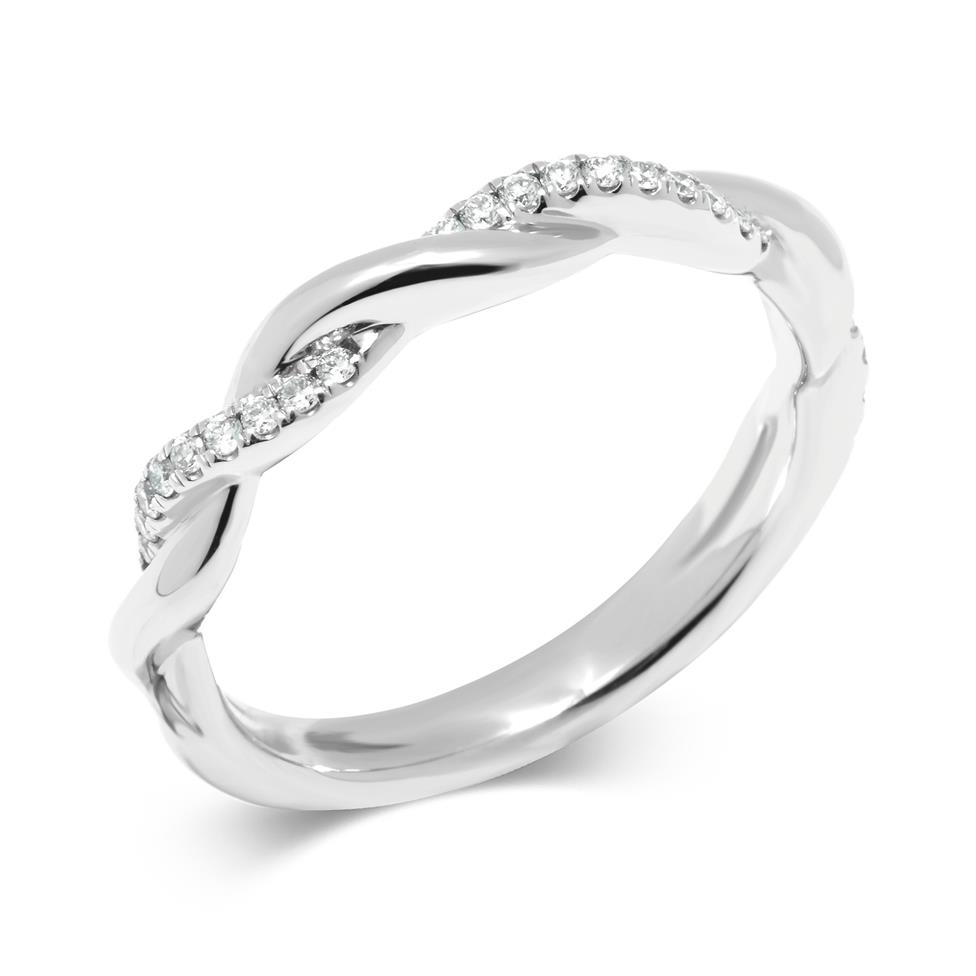 Platinum Plait Design Diamond Set Wedding Ring 0.14ct Thumbnail Image 0