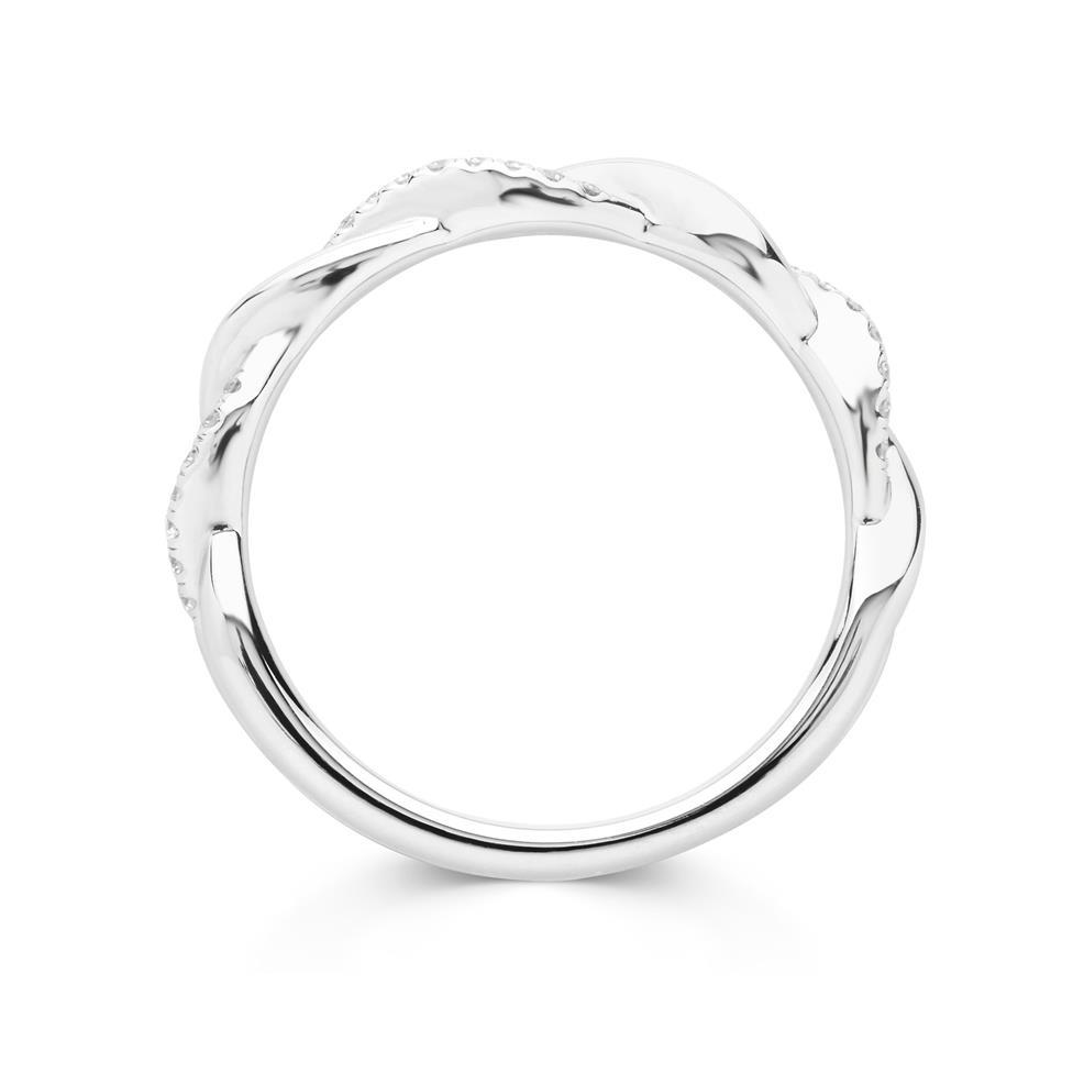 Platinum Plait Design Diamond Set Wedding Ring 0.14ct Thumbnail Image 1