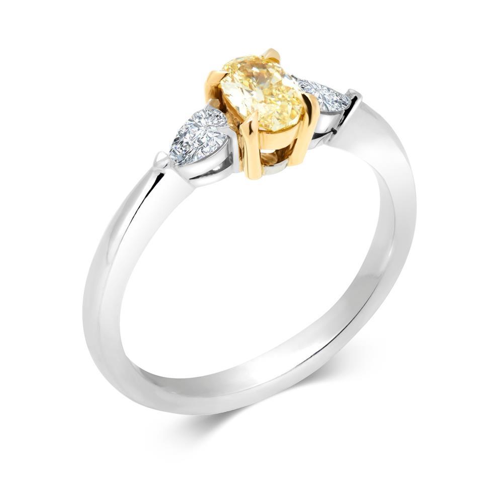 Platinum and 18ct Gold Oval Yellow Diamond Three Stone Engagement Ring 0.65ct Thumbnail Image 0