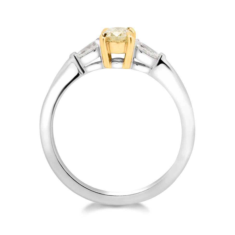 Platinum and 18ct Gold Oval Yellow Diamond Three Stone Engagement Ring 0.65ct Thumbnail Image 1