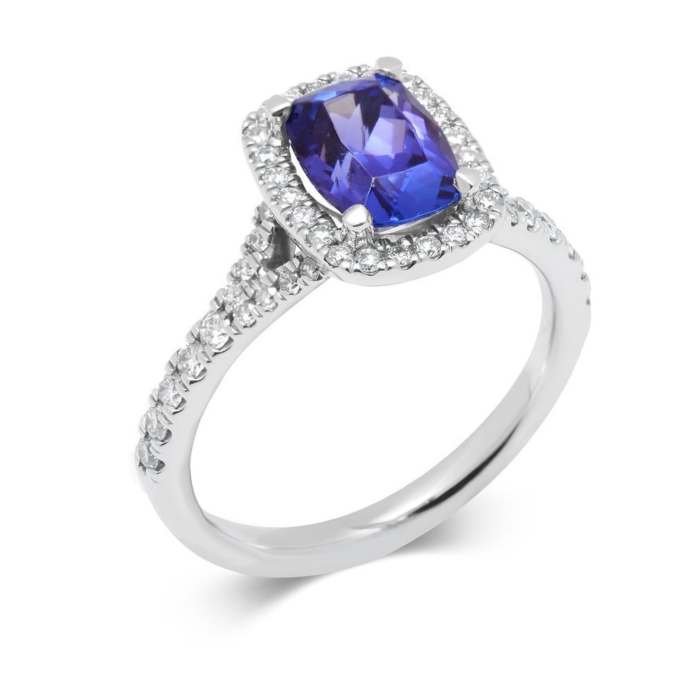 Platinum Cushion Cut Tanzanite and Diamond Halo Dress Ring Thumbnail Image 0