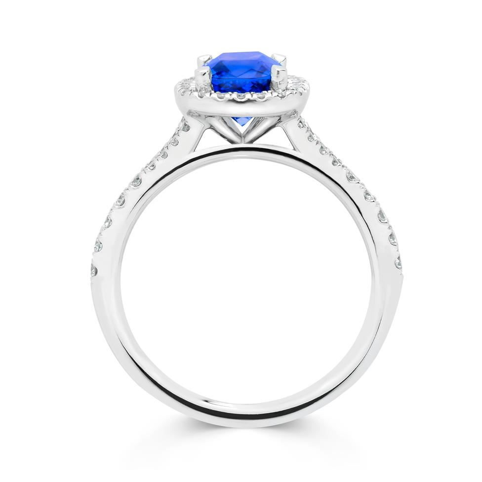 Platinum Cushion Cut Tanzanite and Diamond Halo Dress Ring Thumbnail Image 2
