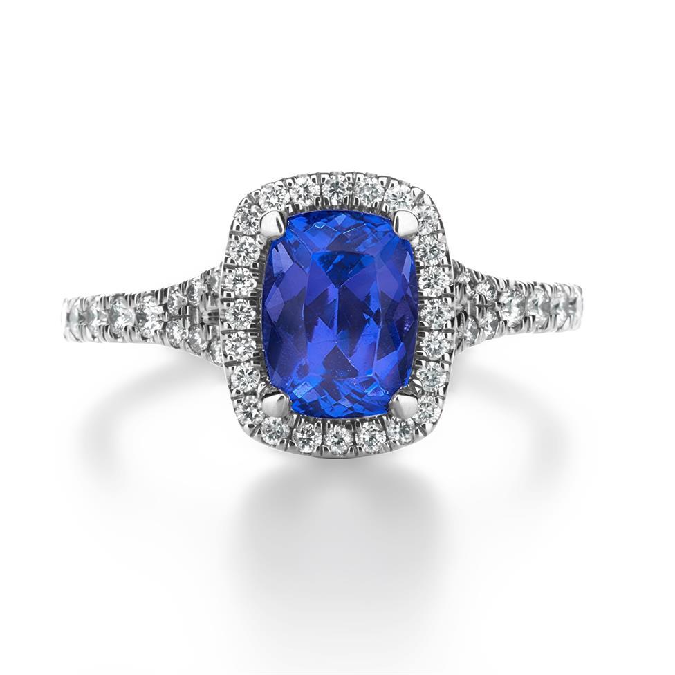 Platinum Cushion Cut Tanzanite and Diamond Halo Dress Ring Thumbnail Image 3