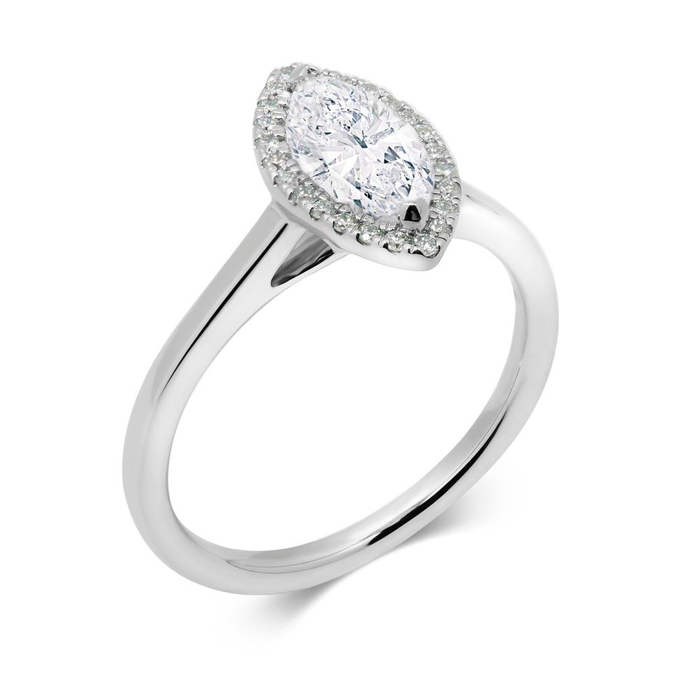 Platinum Marquise Cut Diamond Halo Ring Thumbnail Image 0
