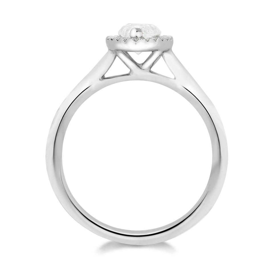 Platinum Marquise Cut Diamond Halo Ring Thumbnail Image 1