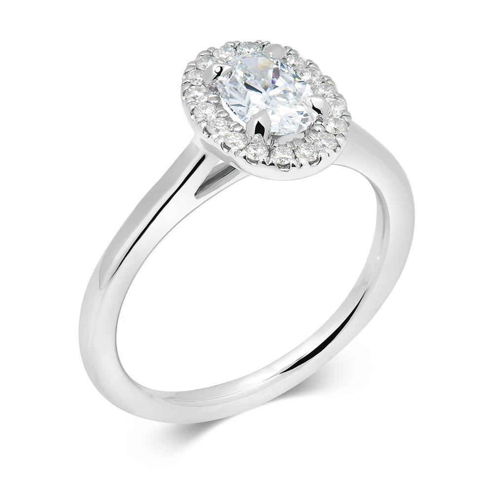 Platinum Oval Diamond Halo Engagement Ring 0.83ct Thumbnail Image 0