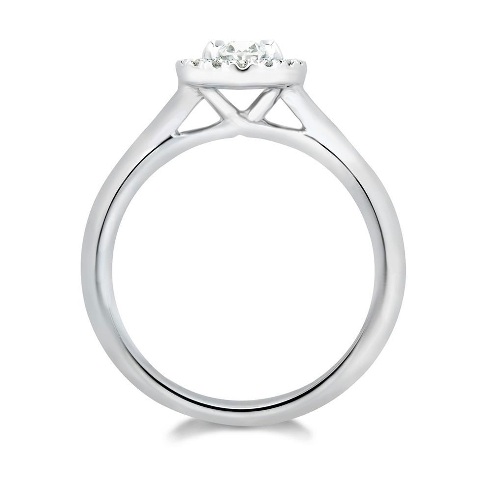 Platinum Oval Diamond Halo Engagement Ring 0.83ct Thumbnail Image 1