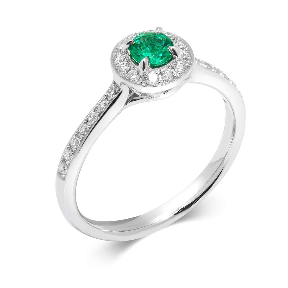 Camellia 18ct White Gold Emerald Halo Ring Image 1