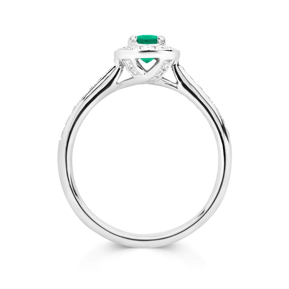 Camellia 18ct White Gold Emerald and Diamond Halo Engagement Ring Thumbnail Image 2
