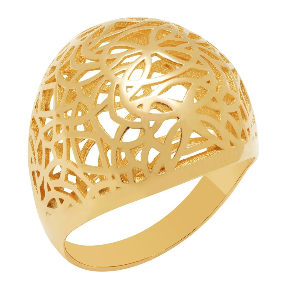 9ct Yellow Gold Dome Design Dress Ring Thumbnail Image 0