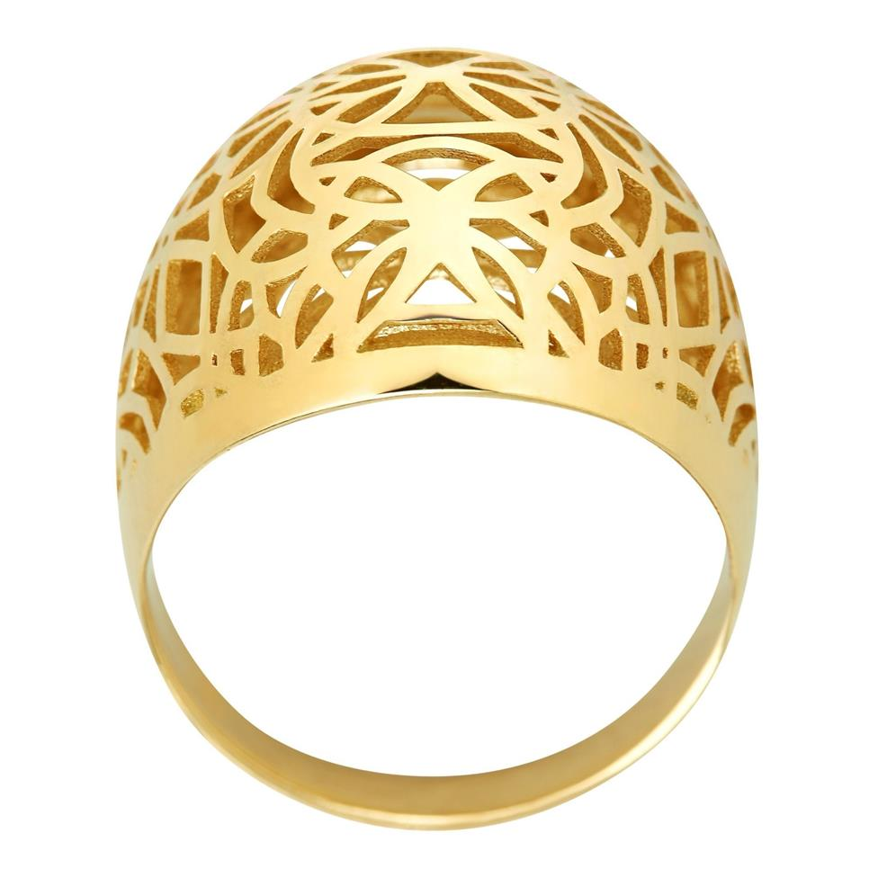 9ct Yellow Gold Dome Design Dress Ring Thumbnail Image 1