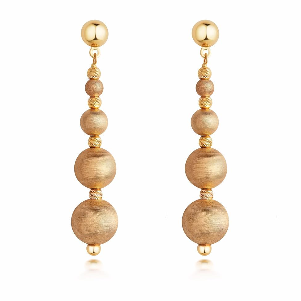 Milano 18ct Yellow Gold Satin Drop Earrings Thumbnail Image 0
