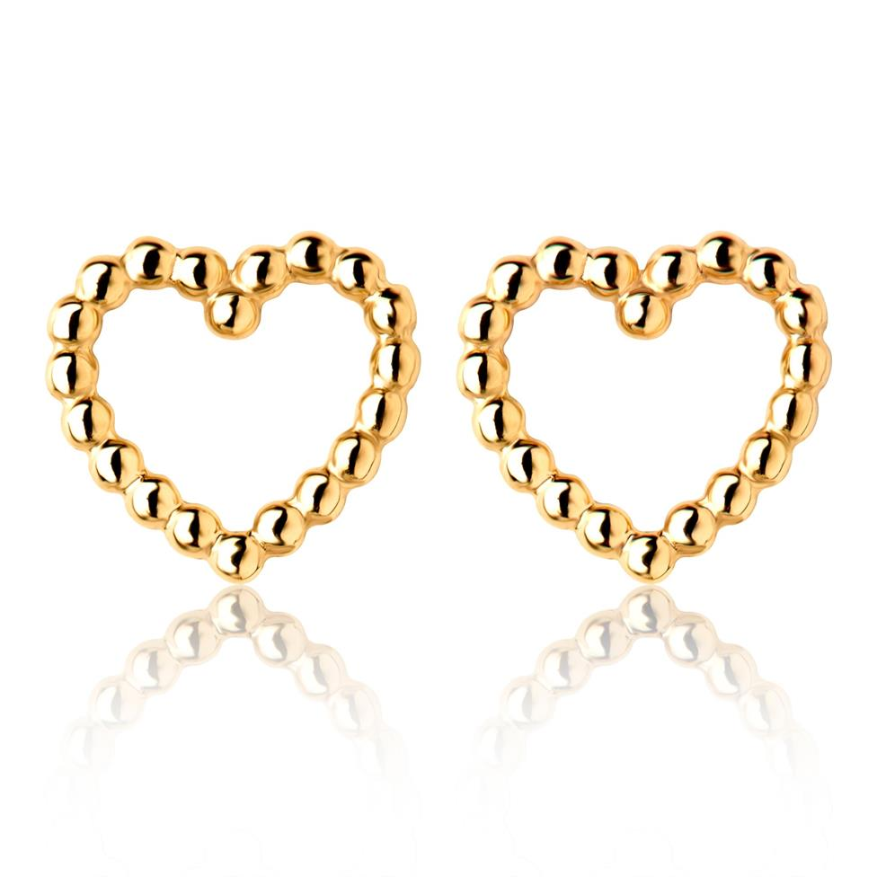 Aura 18ct Yellow Gold Heart Shape Stud Earrings 8mm Image 1