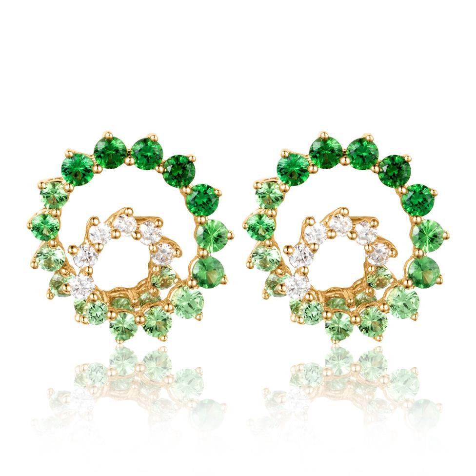 Enigma 18ct Yellow Gold Green Tsavorite and Diamond Stud Earrings Thumbnail Image 0