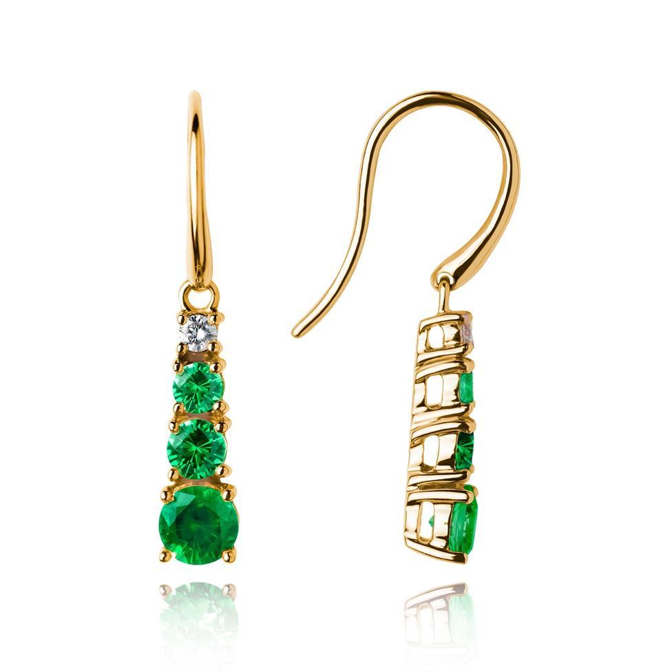 Bonbon 18ct Yellow Gold Tsavorite and Diamond Drop Earrings Thumbnail Image 0