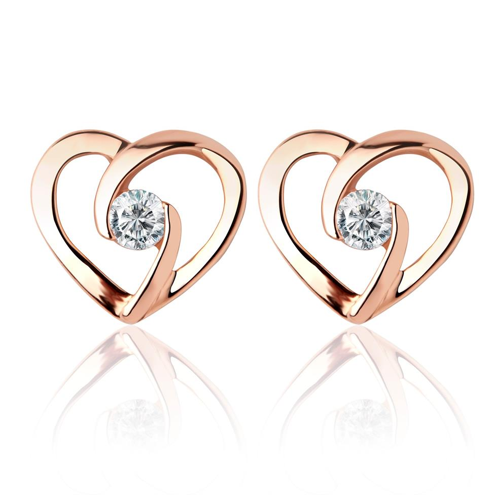 Mon Coeur 18ct Rose Gold Heart Diamond Earrings Thumbnail Image 0