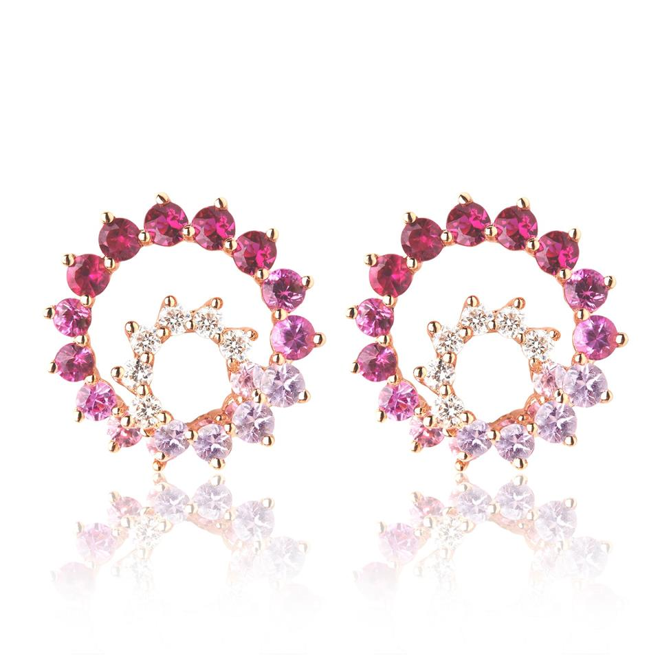 Enigma 18ct Rose Gold Ruby and Sapphire Earrings Thumbnail Image 0