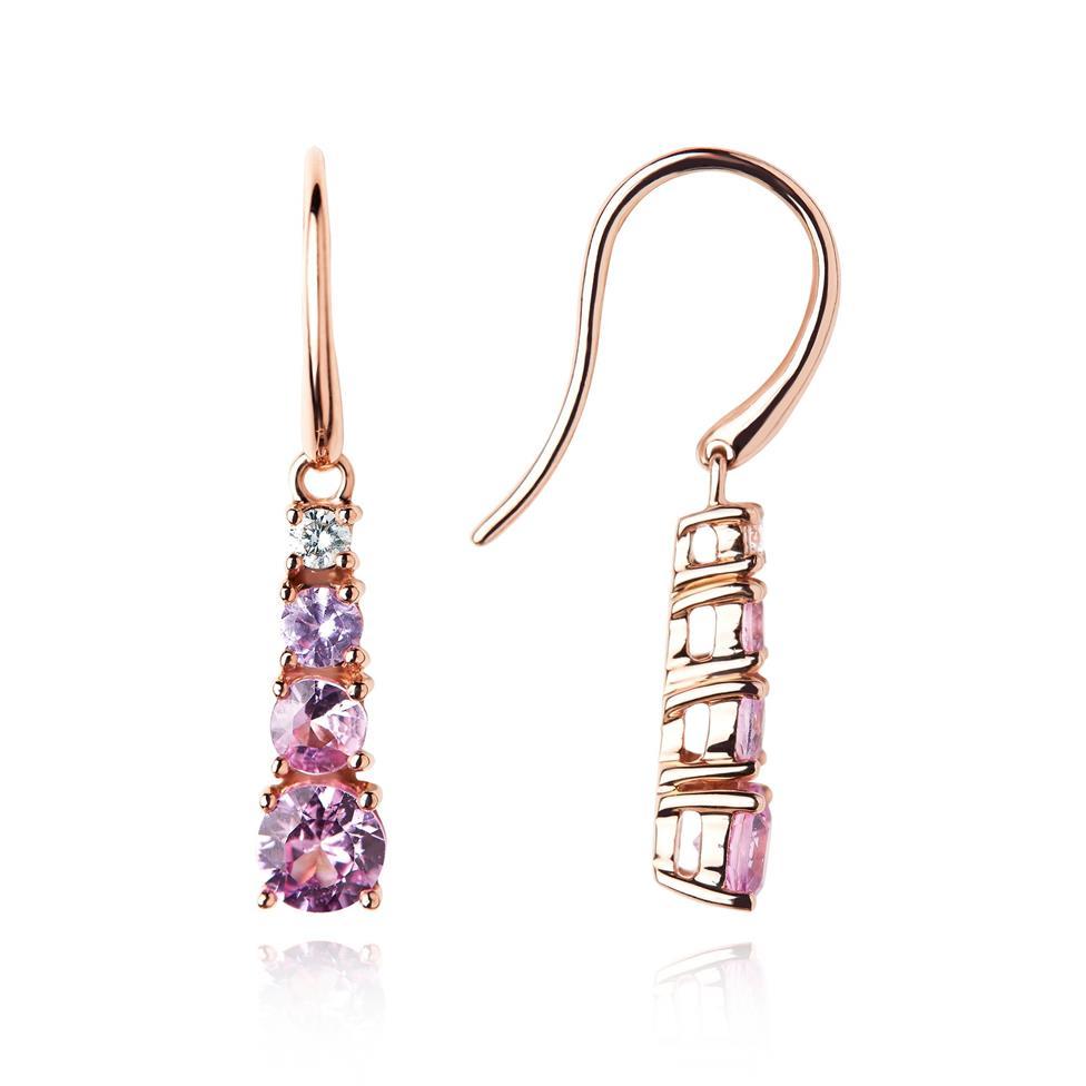 Bonbon 18ct Rose Gold Pink Sapphire and Diamond Drop Earrings Thumbnail Image 0