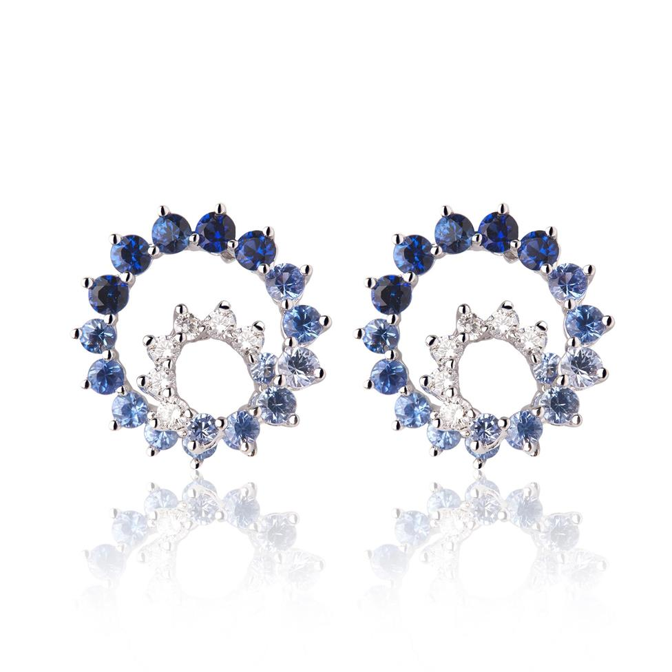 Enigma 18ct White Gold Blue Sapphire Earrings Image 1