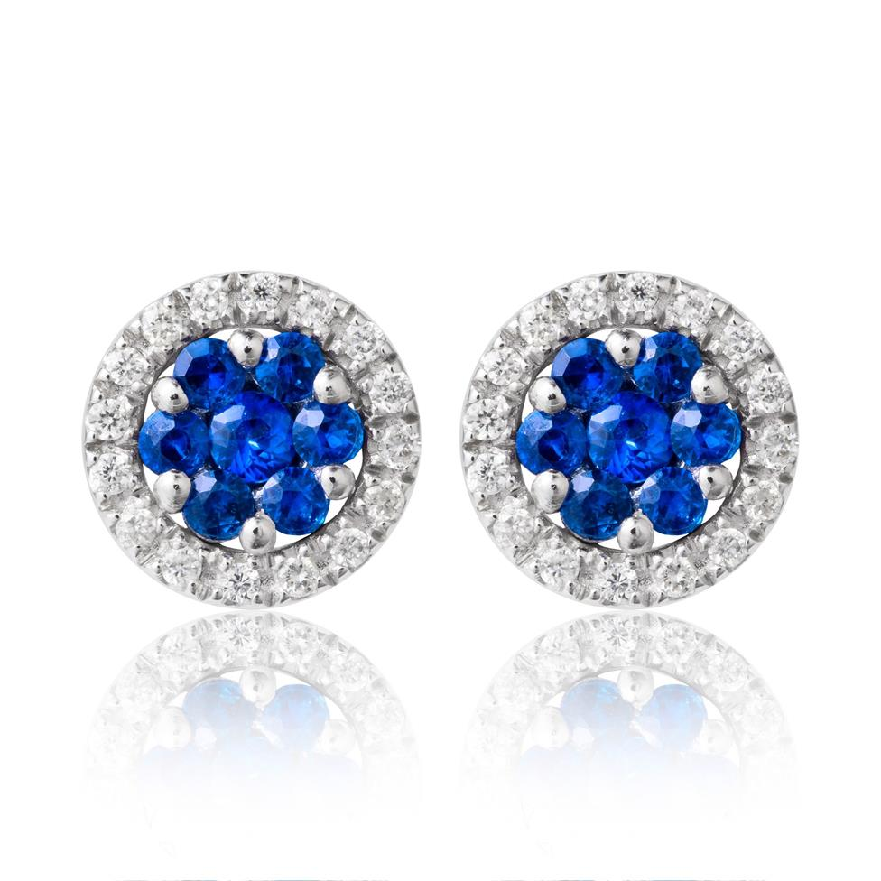 18ct White Gold Sapphire and Diamond Cluster Earrings Image 1