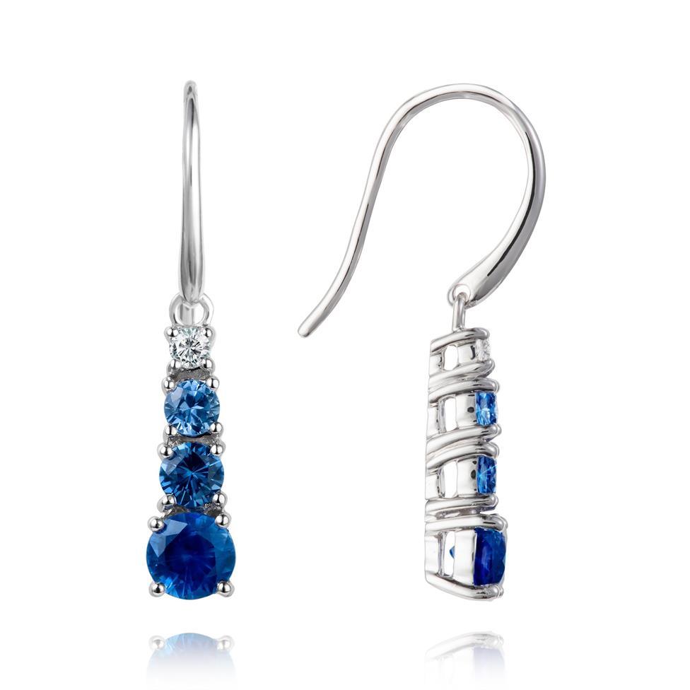 Bonbon 18ct White Gold Sapphire and Diamond Drop Earrings Thumbnail Image 0