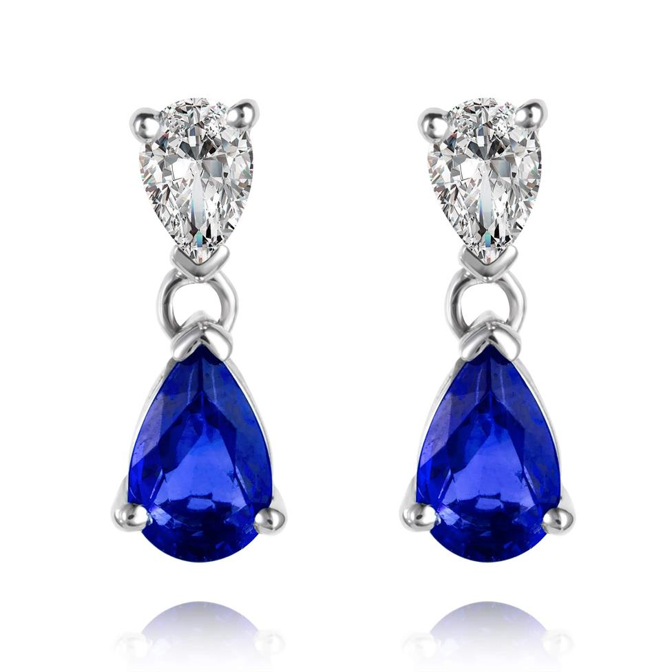 18ct White Gold Pear Shape Sapphire and Diamond Drop Earrings Thumbnail Image 0