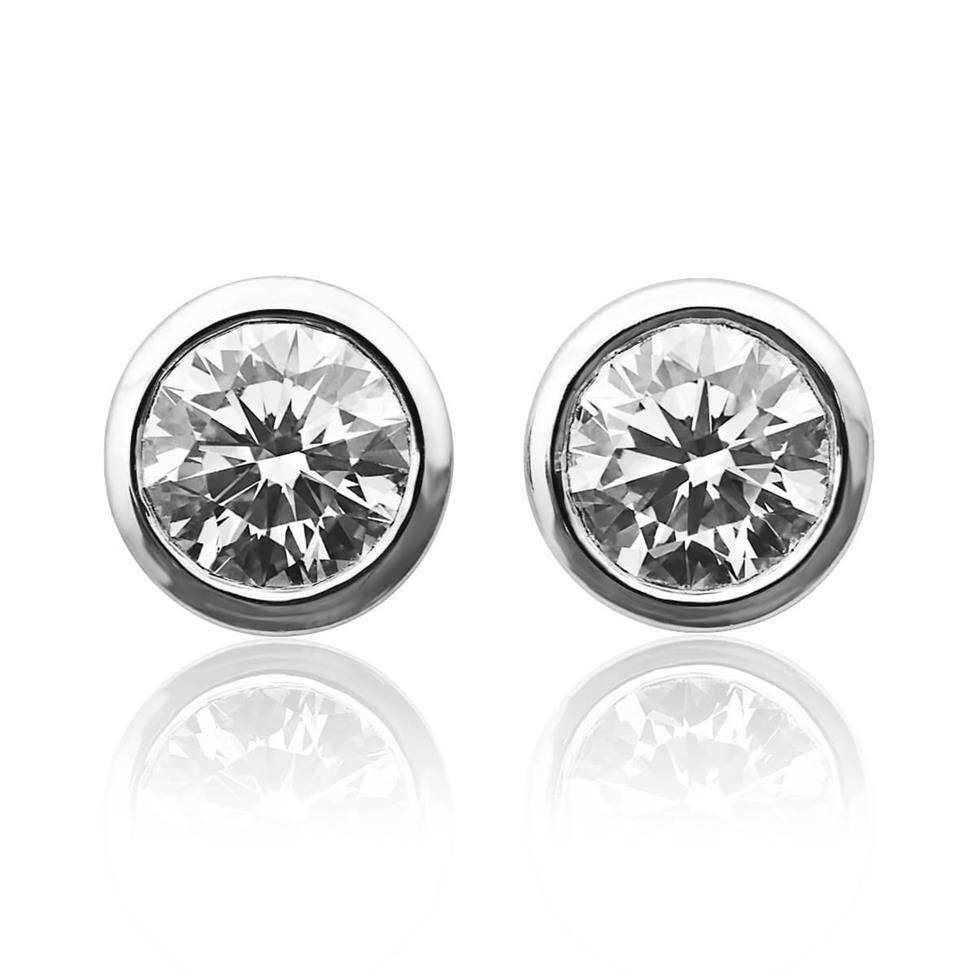 18ct White Gold Rubover 1.00ct Diamond Solitaire Stud Earrings Image 1