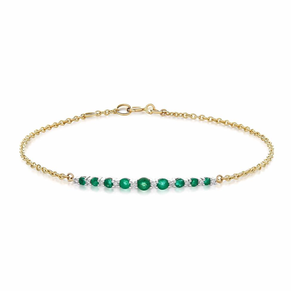 18ct Yellow Gold Emerald and Diamond Bracelet Thumbnail Image 0