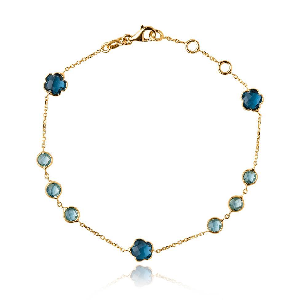 Bloom 18ct Yellow Gold Blue Topaz Bracelet Thumbnail Image 0