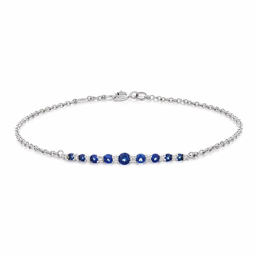 18ct White Gold Sapphire and Diamond Bracelet Thumbnail Image 0