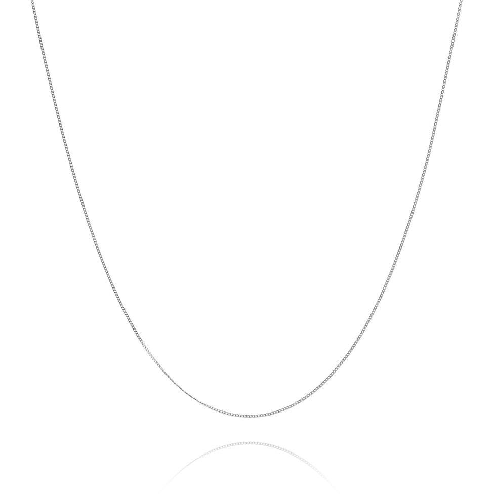 18ct White Gold Curb Chain 42cm Thumbnail Image 0