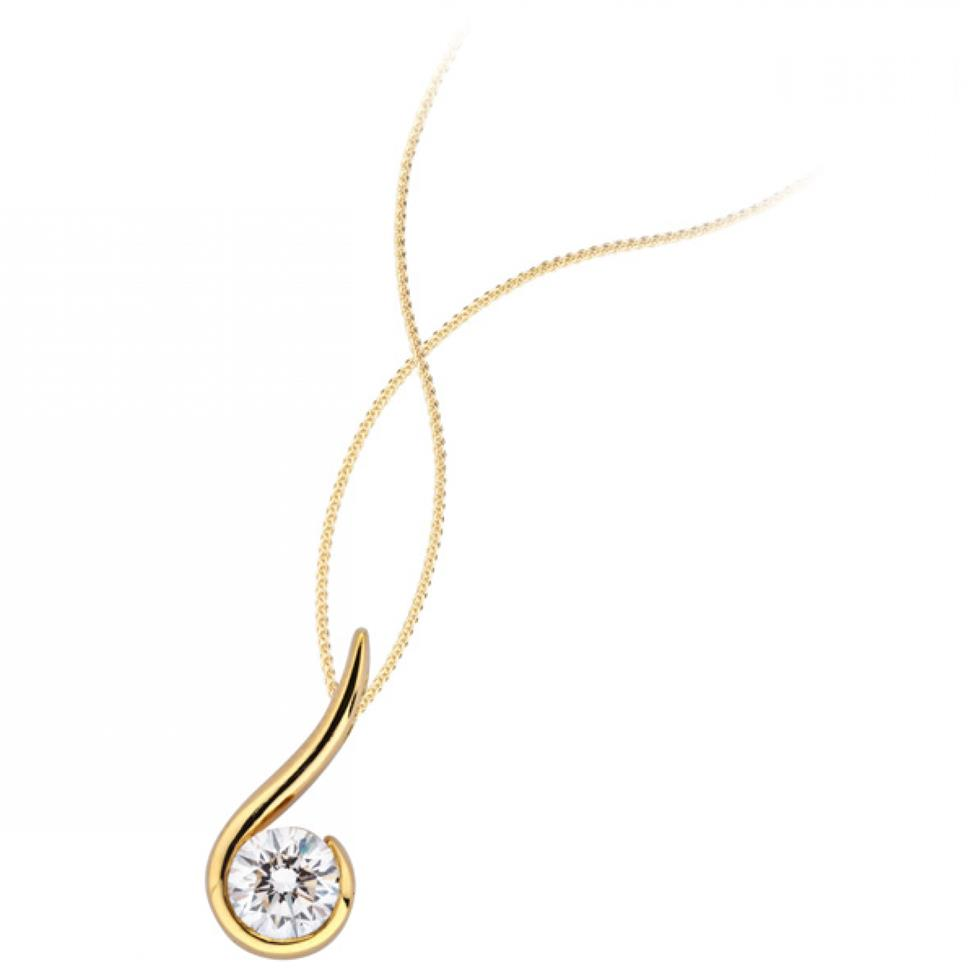 18ct Yellow Gold Diamond Swirl Design Pendant Image 1