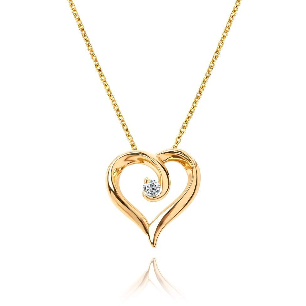 18ct Yellow Gold Heart Design Diamond Pendant 0.03ct Thumbnail Image 0