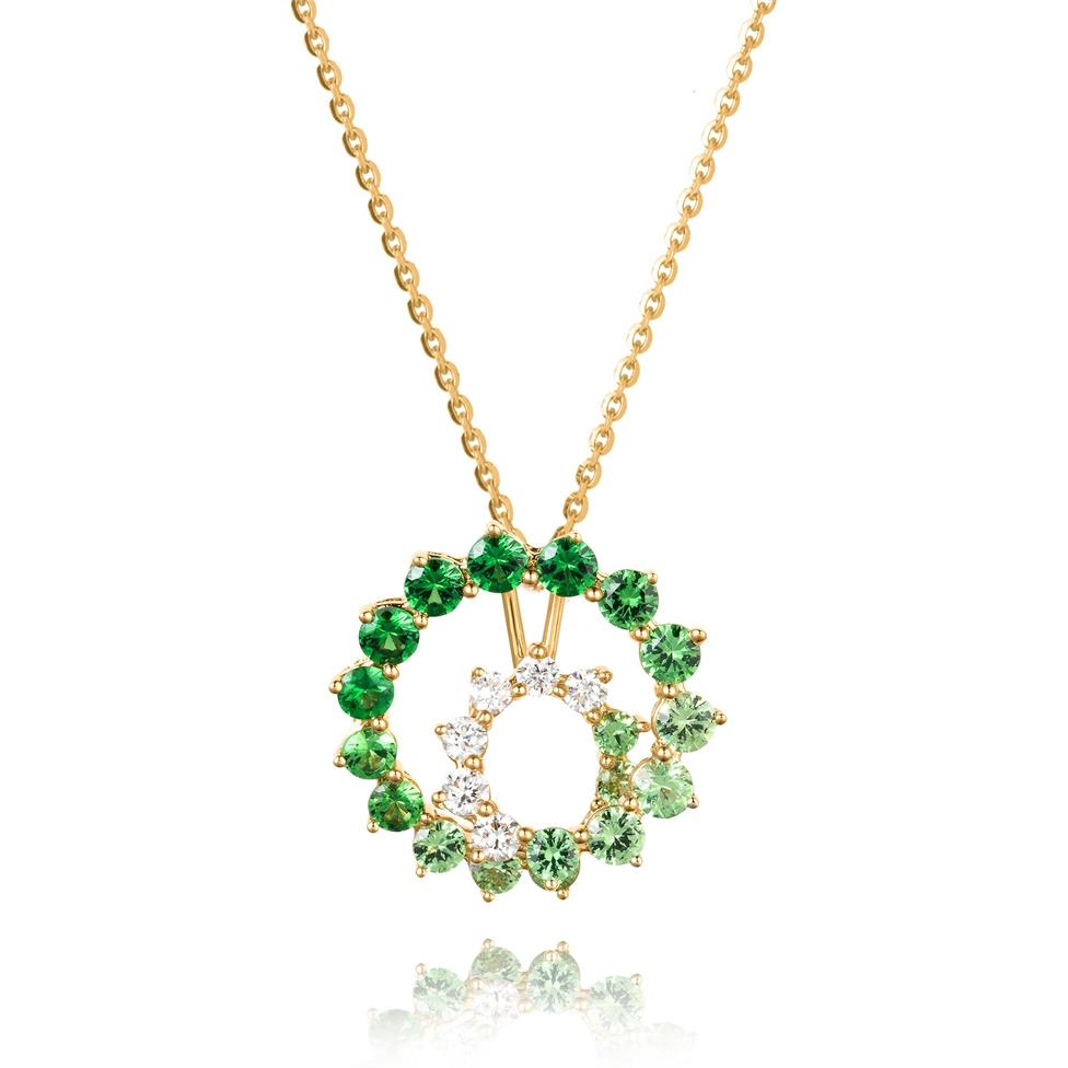 Enigma 18ct Yellow Gold Green Tsavorite and Diamond Pendant Image 1