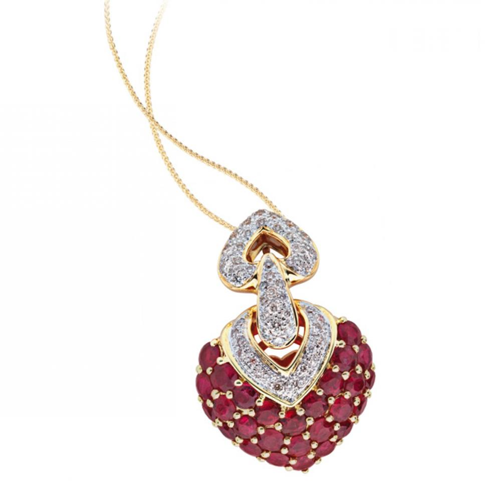 18ct Yellow Gold Statement Ruby and Diamond Heart Pendant Image 1