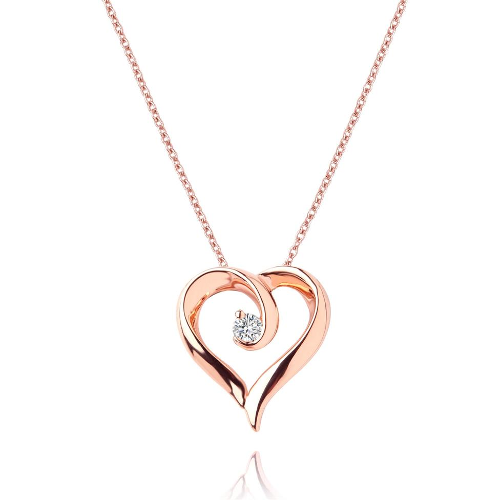 18ct Rose Gold Diamond Swirling Heart Pendant Image 1