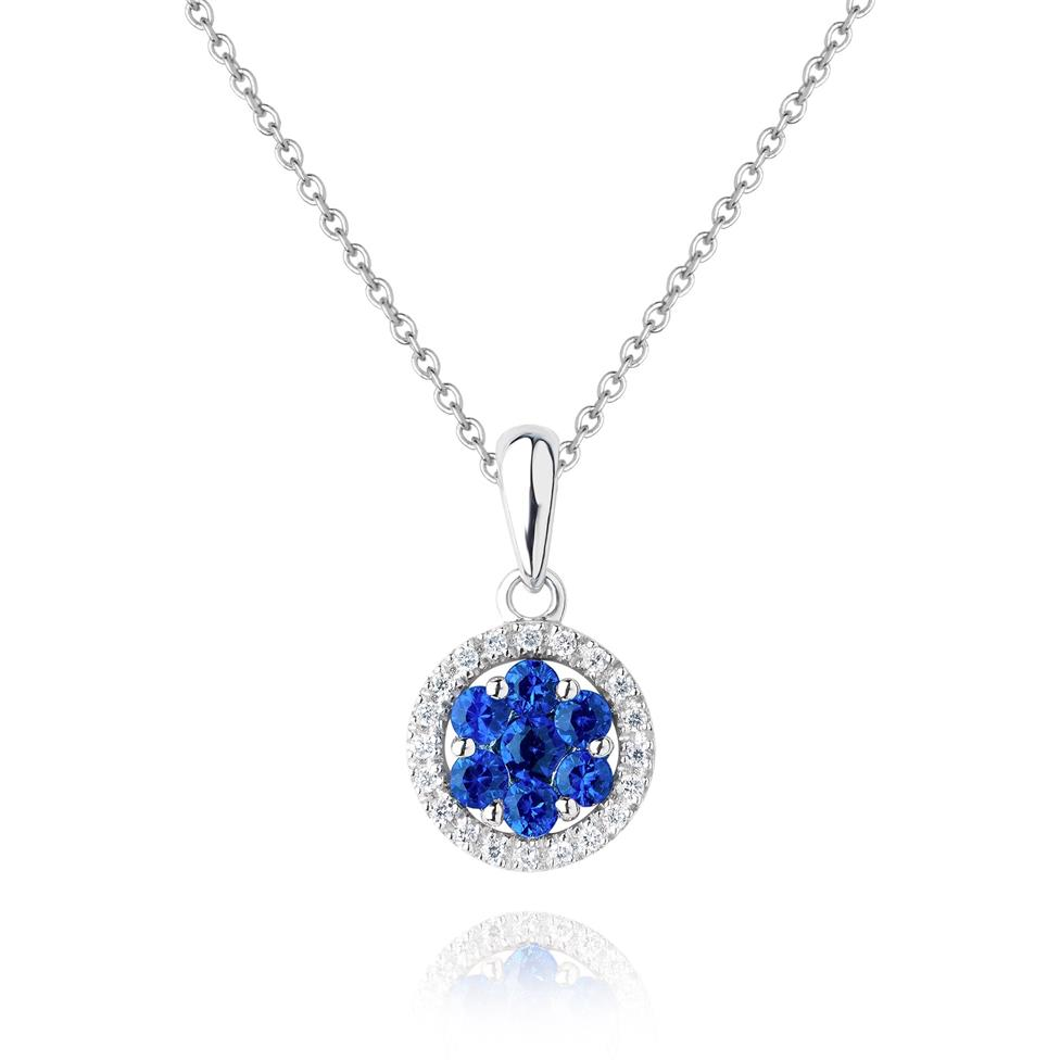 18ct White Gold Illusion Detail Sapphire and Diamond Pendant Image 1