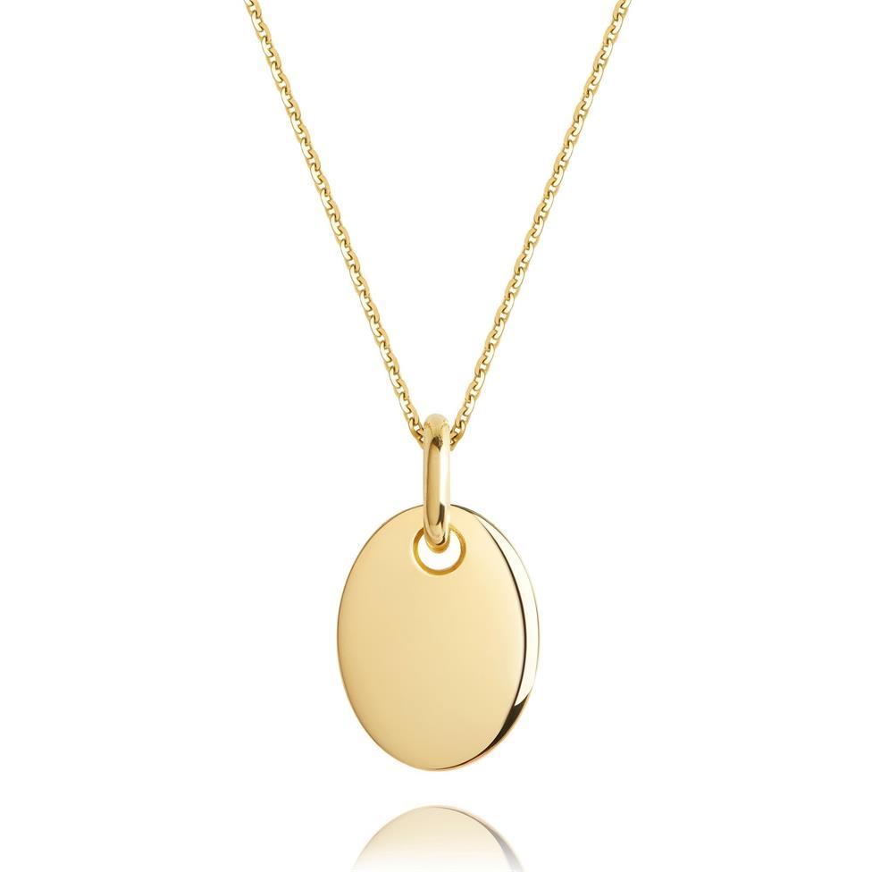 18ct Yellow Gold Small Oval Design Pendant Thumbnail Image 0