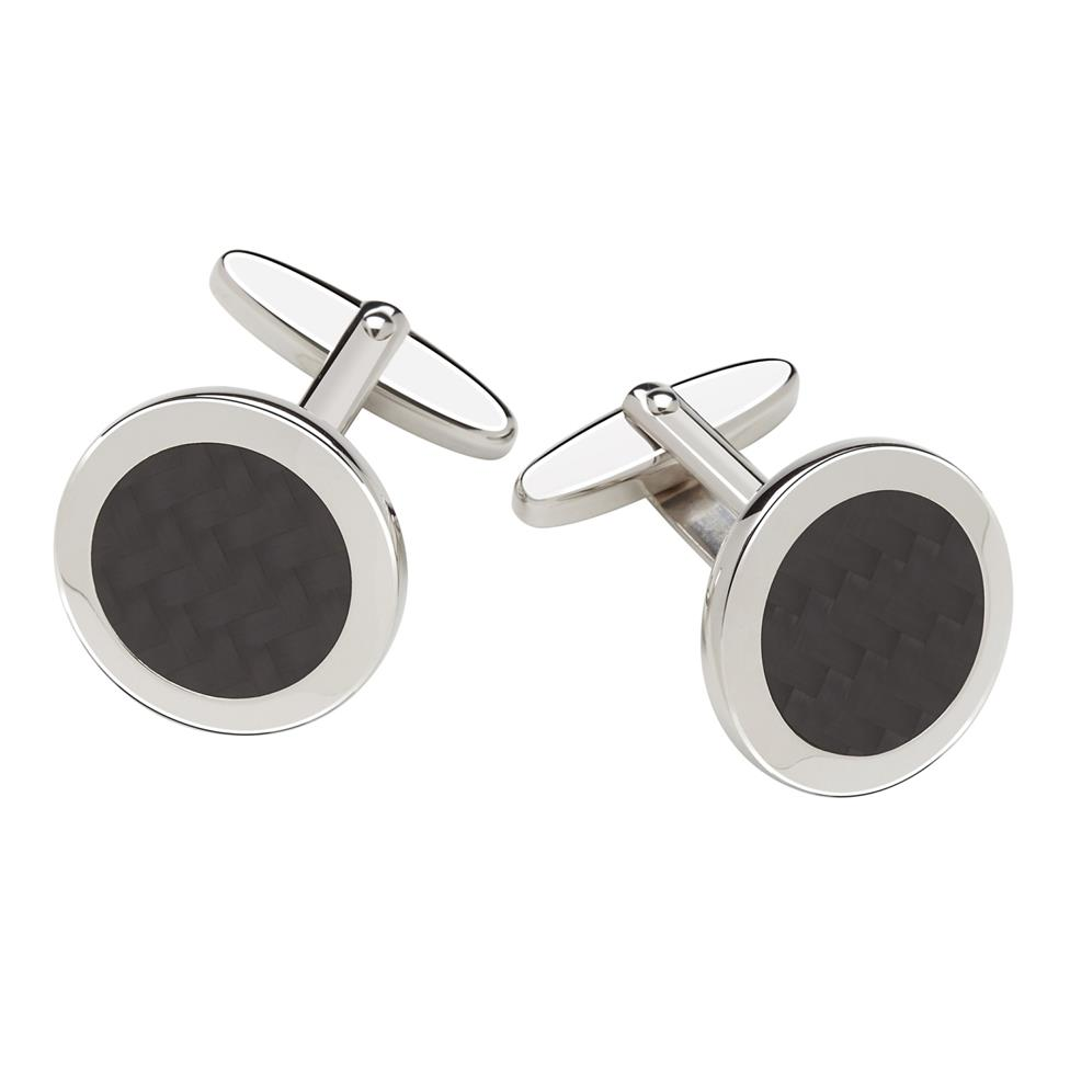 Sterling Silver Carbon Fibre Detail Cufflinks Image 1