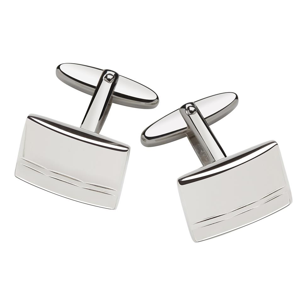 Silver Diamond Cut Cufflinks Image 1
