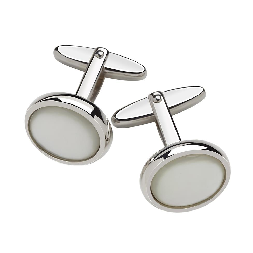 Mother Of Pearl Silver Oval Cufflinks Thumbnail Image 0