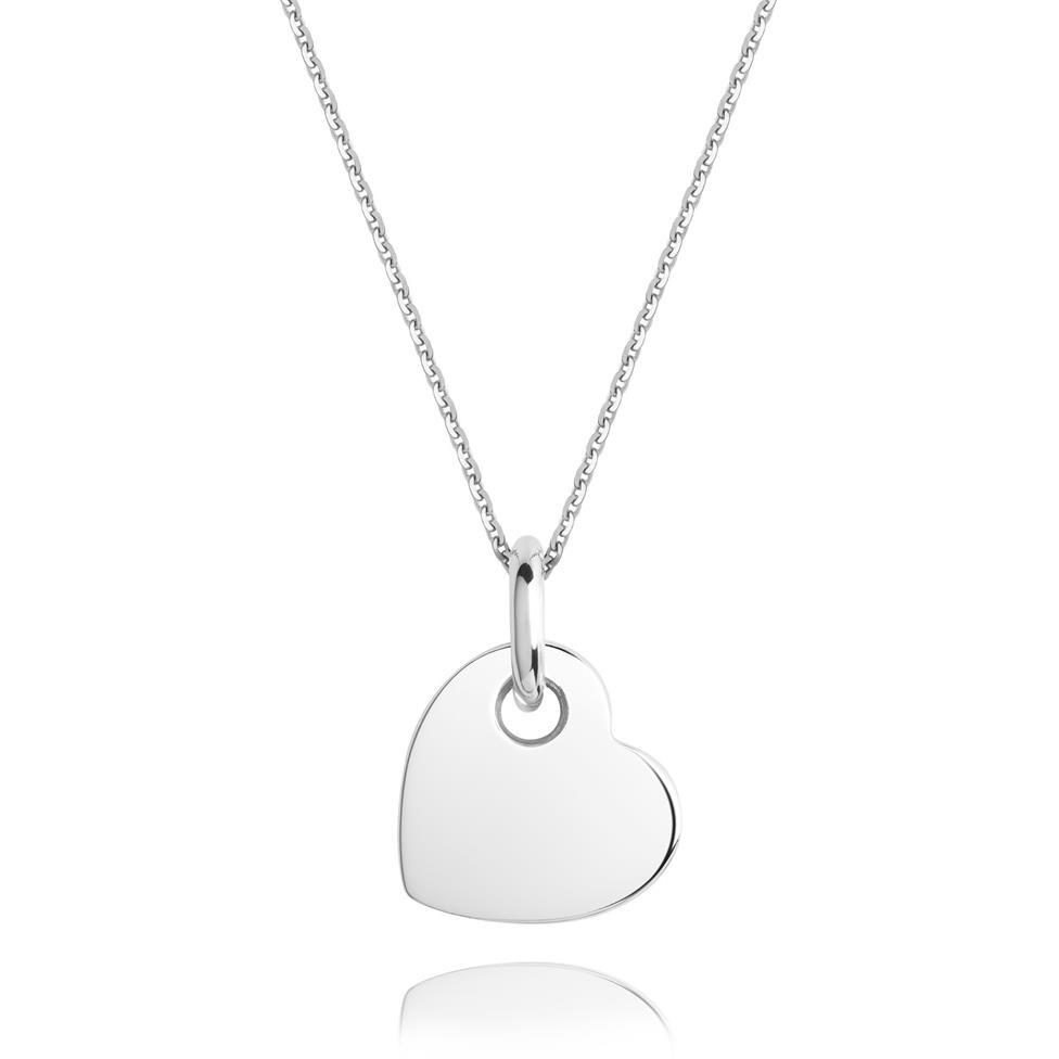 Treasured 18ct White Gold Heart Design Pendant Thumbnail Image 0