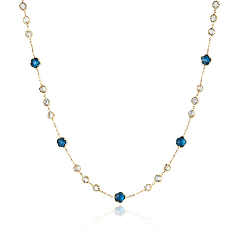 Bloom 18ct Yellow Gold Blue Topaz Necklace Image 1