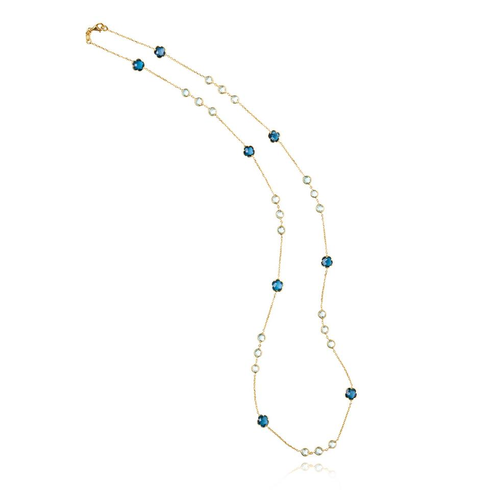 Bloom 18ct Yellow Gold Blue Topaz Necklace 60cm Thumbnail Image 0