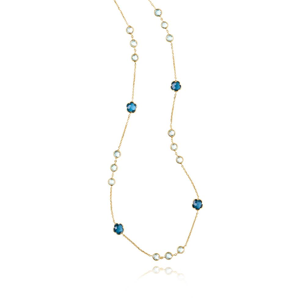 Bloom 18ct Yellow Gold Blue Topaz Necklace 60cm Thumbnail Image 2