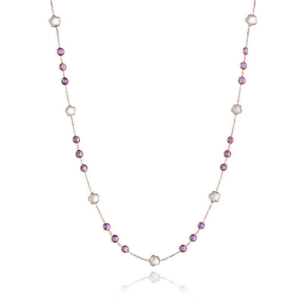 Bloom 18ct Rose Gold Amethyst Necklace Thumbnail Image 0